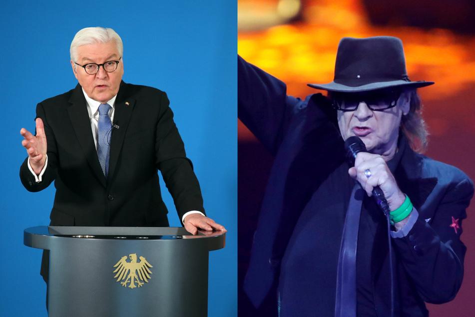 Bundespräsident Frank-Walter Steinmeier (65, l.) hat Rockmusiker Udo Lindenberg (74) anlässlich seines 75. Geburtstags gewürdigt.