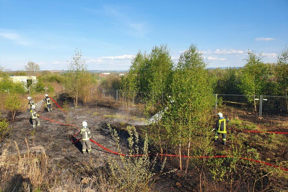 Brandstiftung? Feuer auf dem Gelände der JVA-Baustelle in Zwickau