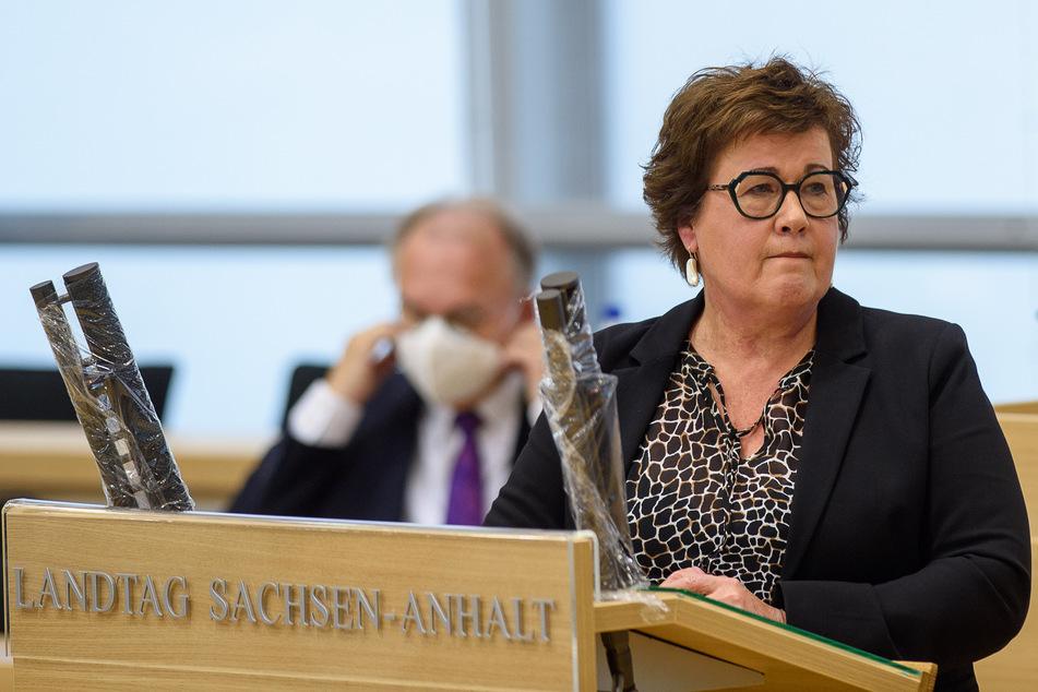 Sachsen-Anhalts Gesundheitsministerin Petra Grimm-Benne am Freitag im Landtag in Magdeburg.