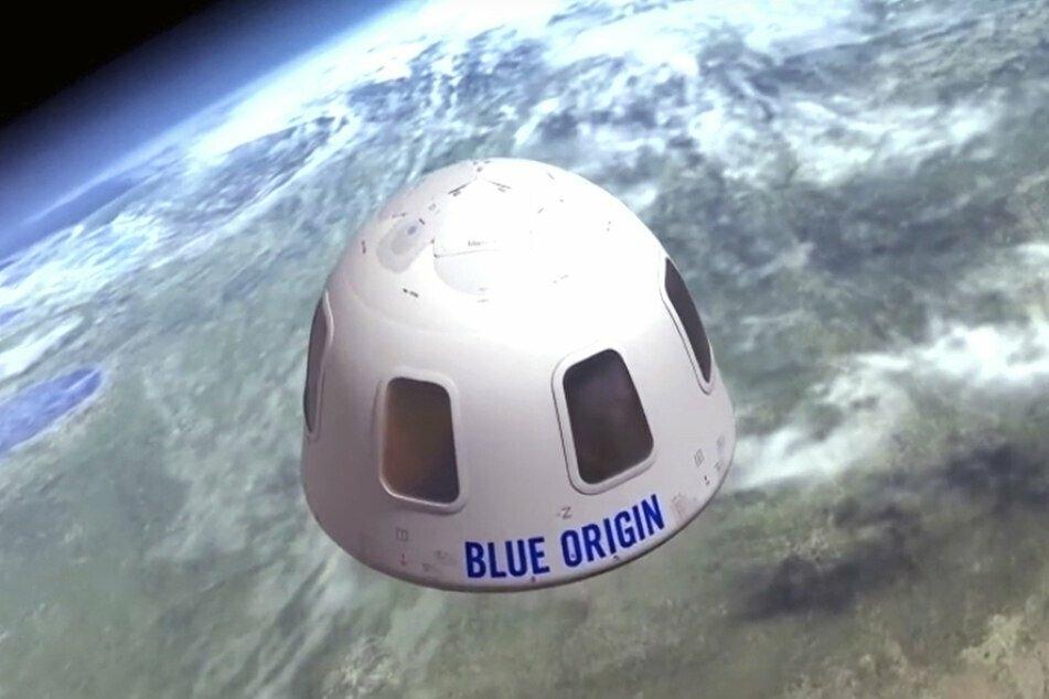 Diese Illustration zeigt die Kapsel, mit der die Firma Blue Origin Touristen ins All bringen will.