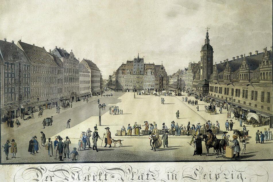 Marktplatz und Rathaus in Leipzig um 1800 (F.u.): Der Name der Stadt könnte auf Lipa für Linde zurückgehen.