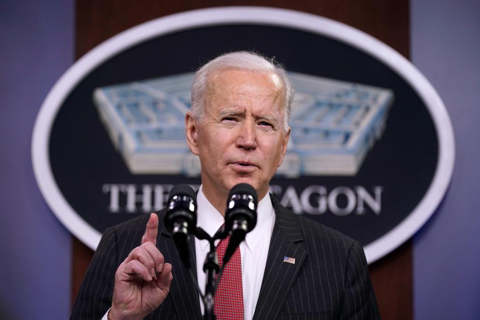 """Er will den """"Wettbewerb"""" mit China gewinnen: US-Präsident Joe Biden (78) sprach zu Mitarbeitern des Verteidigungsministeriums im Pentagon."""
