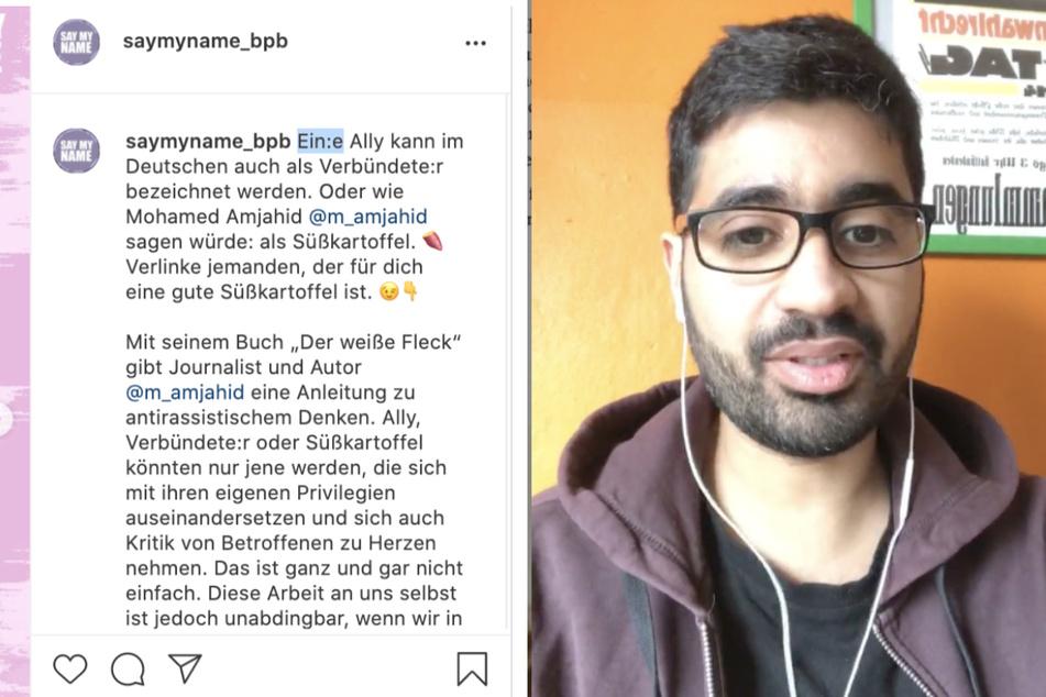 """Autor und Journalist Mohamed Amjahid verwendet den Begriff """"Süßkartoffel"""" für Menschen, die Betroffenen rassistischer Diskriminierung zur Seite stehen."""