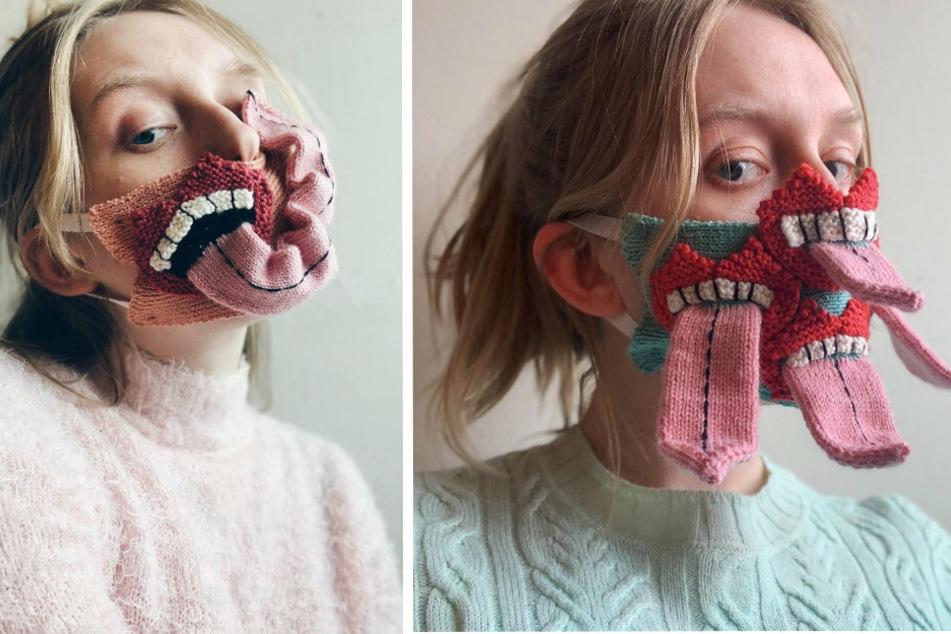 Einige Ideen ihrer Gesichtsmasken beruhen auf die vorhandenen Designs ihrer Pullover.
