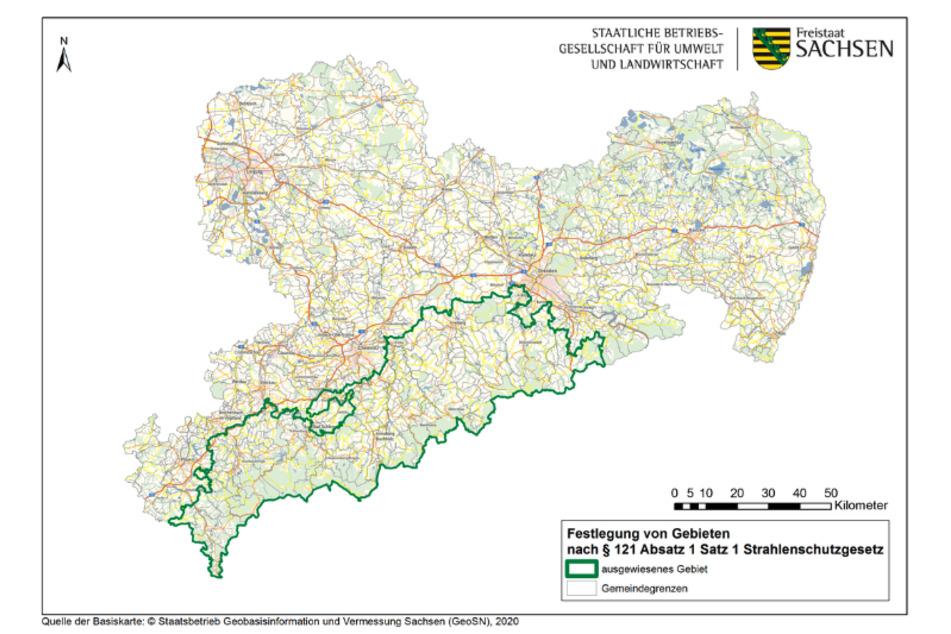 Diese Karte zeigt die Radon-Risikogebiete in Sachsen. Dort müssen vor dem Hausbau einige Schutzmaßnahmen getroffen werden.
