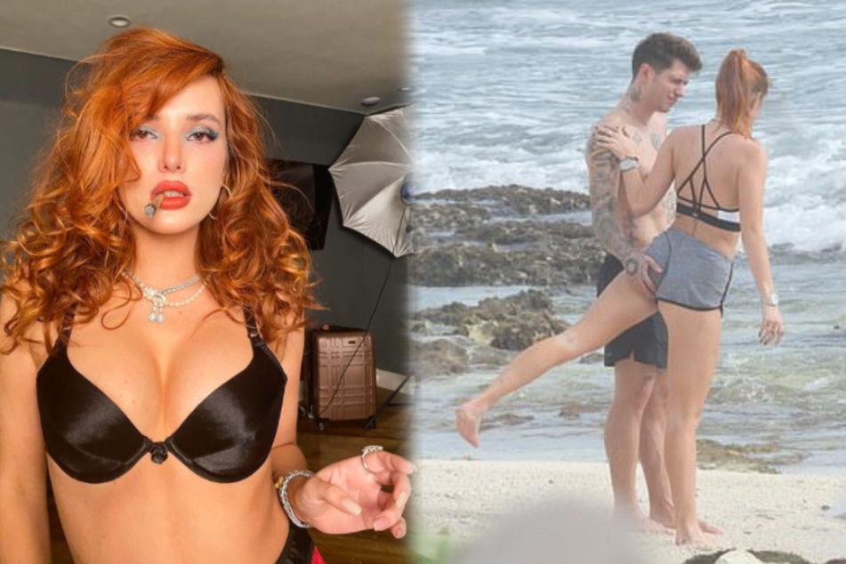 Bella Thorne and her boyfriend get handsy in steamy beach workout