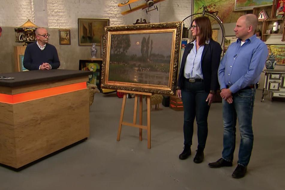 Moderator Horst Lichter (59) bestaunte das Gemälde von Arthur Wansleben.
