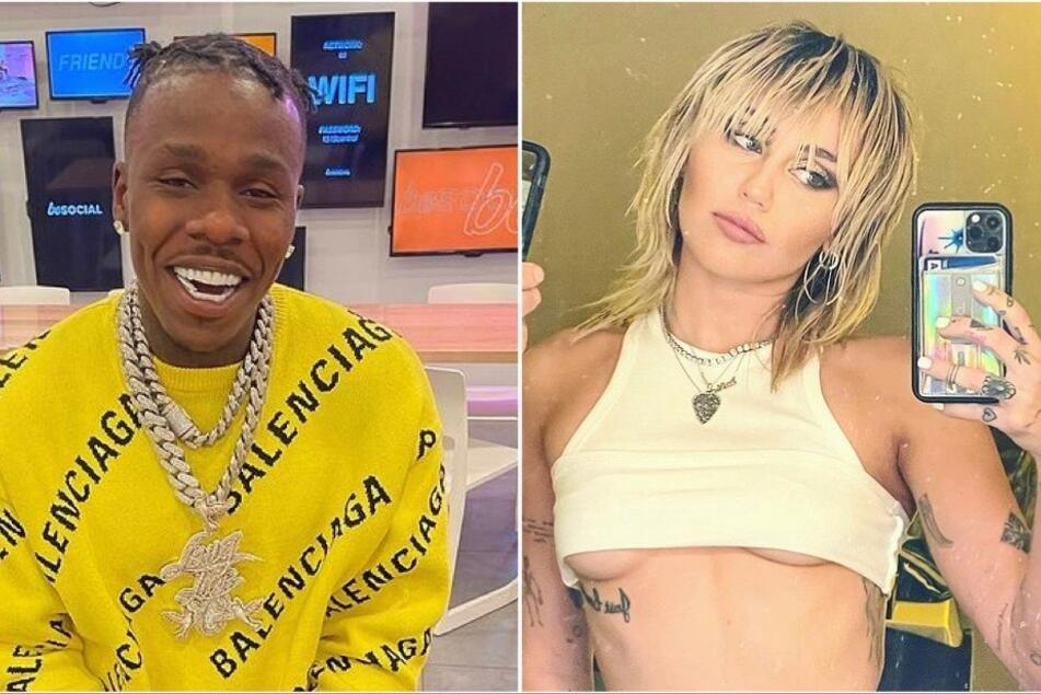 Miley Cyrus (l) has spoken out on DaBaby's (r) recent homophobic rant and calls for fans to educate the rapper.
