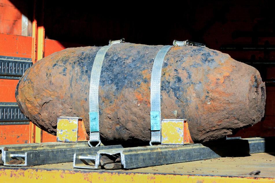 Eine Zehn-Zentner-Weltkriegsbombe, die im Januar vom Kampfmittelbeseitigungsdienst in Köln entschärft worden ist.