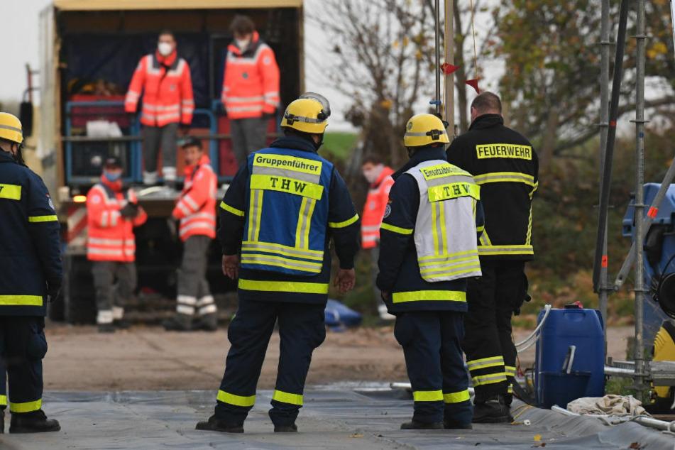 Mitarbeiter des Technisches Hilfswerkes und der Feuerwehr bauen auf dem Gelände eines Geflügelmastbetriebes in Rothenkirchen bei Rambin eine Dekontaminationsschleuse für Fahrzeuge und Personal auf. In der Putenmastanlage sollen 16100 Tiere getötet werden.